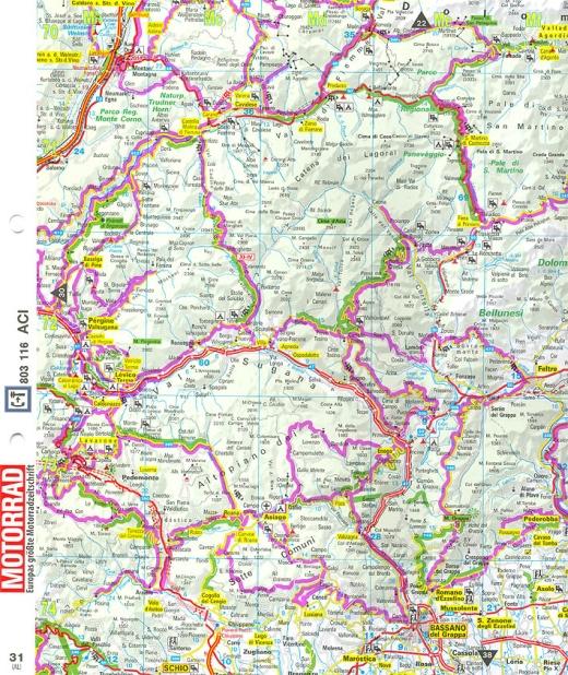 Motorrad Reisekarten Alpen Blattausschnitt 1- Bild: Mair Dumont